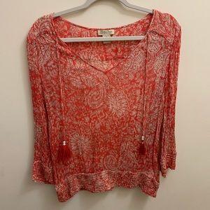 Lucky Brand Boho Top Shirt Red White Tassels XL